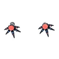 Navy & Coral Atomic Burst Post Earrings