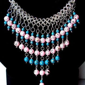 Handmade bib necklace- egyptian inspired collar necklace -  chainmaille blue and pink bauble waterfall necklace -  handmade chunky necklace