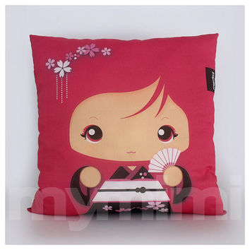 Red Pillow, Girls Pillow, Kawaii Girl, Decorative Pillow, Geisha Girl, Kokeshi, Japanese Doll, Home Decor, Room Decor, Cushion, 16 x 16""