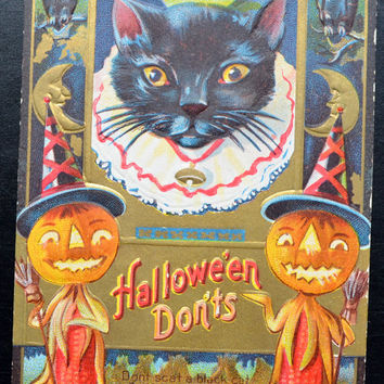 Halloween Postcard, Halloween Card, Vintage Halloween, Vintage Postcards, Antique Postcard, Antique Halloween Postcard, Halloween Don't