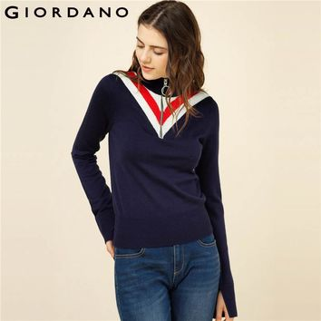 Giordano Women Sweater Half Placket Zip Knitwear Long Sleeves Mockneck Knitted Pullover Fashion Clothing For Lady 2018 Brand