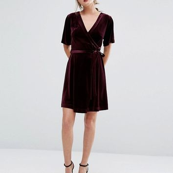 New Look Velvet Wrap Dress at asos.com