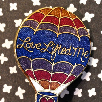 Hot air ballon pin vintage enamel pin love by NewVintageShoppe