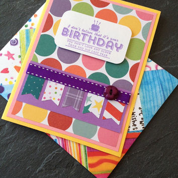 Handmade Birthday Greeting Card, Unisex - Great for Kids, Boy or Girl, or Best Friend, Scrapbook Paper, Bright, Fun and Colorful Card