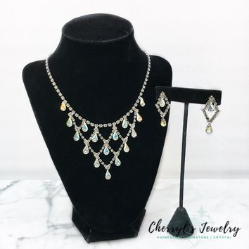 Raining Crystal Rhinestone, Aurora Borealis Crystal Necklace and Earring Set