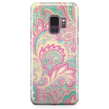 Pink Turquoise Girly Chic Floral Paisley Pattern Samsung Galaxy S9 Plus Case | Casefantasy