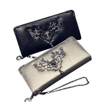 Skull Pattern Leather Women Wallets Long Female Wallet Women Luxury Brand Card Holder Zipper Clutch Coin Purse Moose Money Bags