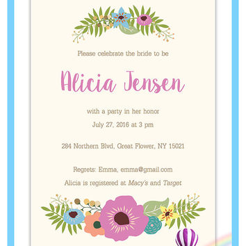 Bridal Shower Invitation Vintage Floral Design, Floral Bridal Shower Invitation, Shower Invite, Printable Invitation - FPD3sign invitations
