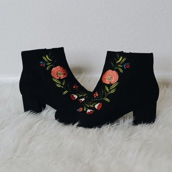 Rory Embroidered Patch Suede Booties (Black)