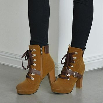 Platform Lace Up Suede Chunky Heel Ankle Boots