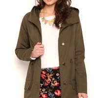 Long Utility Anorak Jacket with Drawstring Waist and Hood