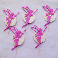 Fairy Cupcake Toppers, Pink Cupcake Toppers, Baby Girl Shower Party, Birthday Party Fairy Decoration, Set of 12 pcs