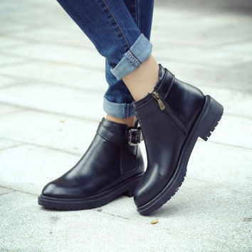 Black Ankle Boots Platform Shoes Woman