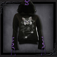 Womens BRIGHT EYES Purple Ribbon Gothic Hoody Black Shop Online From Spiral Direct, Gothic Clothing, UK