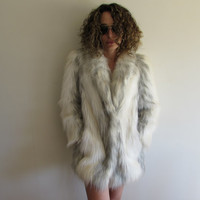 Vintage Off White and Gray Faux Wolf Fur Glam Hollywood Coat