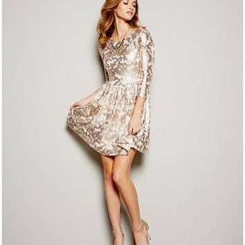 GB Metallic Sequin Fit-and-Flare Dress | Dillards