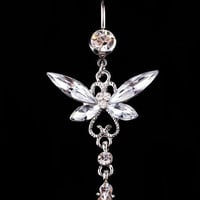 Hot Sale Fashion Women New Arrival Fashion Rhinestone Butterfly Belly Button Ring Body Piercing Jewelry The steel ball of 5MM *1.6*11MM bending bar Body-0205