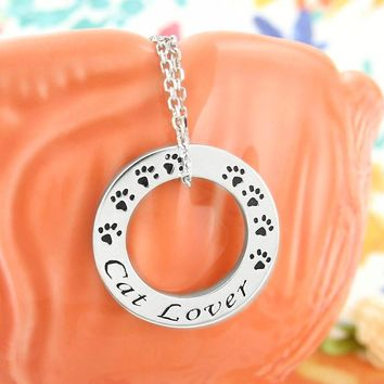 Cat Lover Circle Necklace with Paw Prints