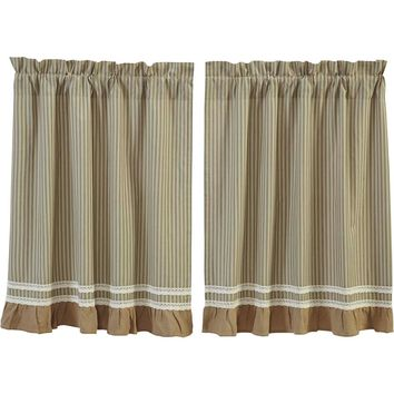 Kendra Stripe Green Tier Curtains 36""