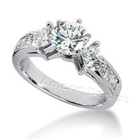 14K White Gold Round & Princess Cut Diamond Promise Engagement Ring (1.50ct.tw, HI Color, SI2-3 Clarity)