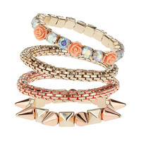 Stone Spike Mesh Wristwear - Jewellery By Diva - Accessories - Miss Selfridge