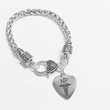 Nurse Practitioner NP Heart Caduceus Medical Gift Graduation Charm Bracelet