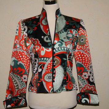 JS COLLECTIONS Silk Womens Jacket With Mandarin Color And Oriental Motif With Bright Colors Size 6