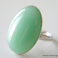Green Aventurine Ring Natural Stone 18x25mm Silver Plated Adjustable Ring
