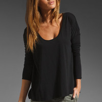 James Perse Mini Binding Boxy Long Sleeve in Black from REVOLVEclothing.com