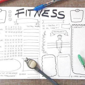 fitness bullet journal bujo wellness printable training planner agenda weight loss diy organizer journaling journal download lasoffittadiste