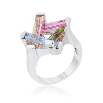 Myra Multicolor Cluster Cocktail Ring | 10ct | Cubic Zirconia