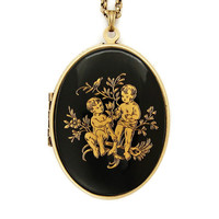 Gemini - Vintage Zodiac Locket Necklace - Rare Black And Gold Astrology Sun Sign Gemini Twins Glass Cabochon Locket