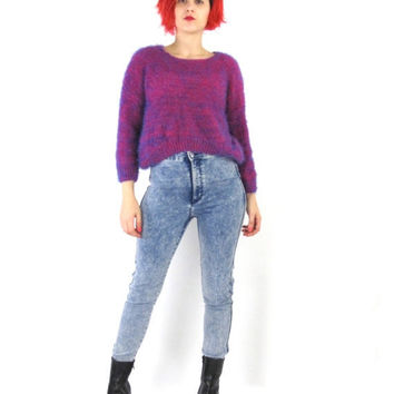 25% OFF SALE 90s Fuzzy Pink Sweater Fuschia Pink Furry Sweater Shaggy Soft Plush Sweater Club Kid Neon Pink Purple Blue Hairy Knit Cropped J