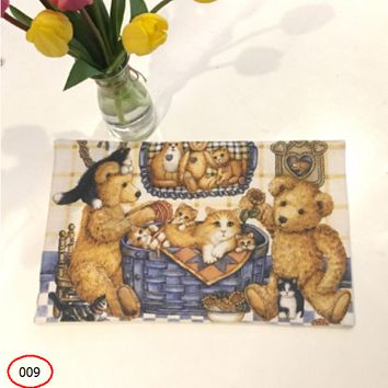 Teddy bear thick cotton and linen placemat, insulation pad