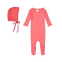 Petals & Peas Baby Girls' Coral Footie and Bonnet