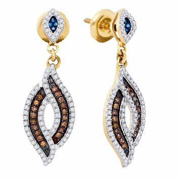 10kt Yellow Gold Womens Round Brown Blue Color Enhanced Diamond Dangle Earrings 1/2 Cttw