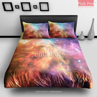 Outer Space Universe Shining Galaxy Bedding Sets Home Gift Home & Living Wedding Gifts Wedding Idea Twin Full Queen King Quilt Cover Duvet Cover Flat Sheet Pillowcase Pillow Cover 072