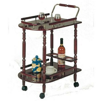 Cherry finish wood tea serving cart with brass accents and casters