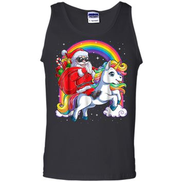 Unicorn Christmas  Girls Santa Kids Women Gifts Xmas Tank Top