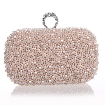 Blush Clutch with crystal and pearls,hand beaded ivory satin with pearls pearl evening bag,prom bag