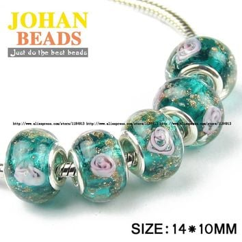 JHNBY 5mm Big Hole European Beads Style Charms Green Glass Bead 10pcs Round Loose beads ball Fit Braclets Jewelry making DIY