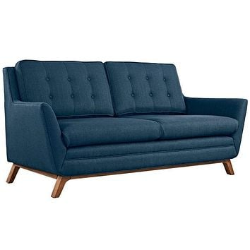 Beguile Upholstered Fabric Loveseat, Azure