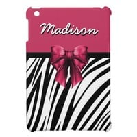 Black and Pink Ribbon Bow Zebra Print Case For The iPad Mini from Zazzle.com