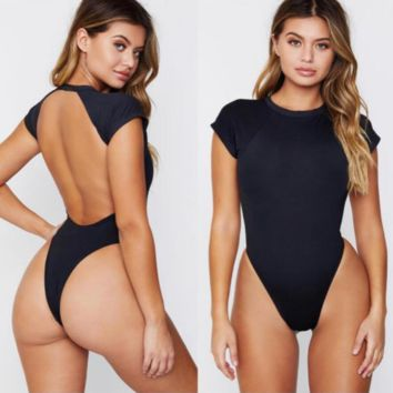 Summer fashion new short sleeve backless solid color sexy one piece bikini Black