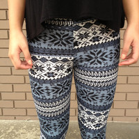 White & Blue Snowflake Fleece Leggings