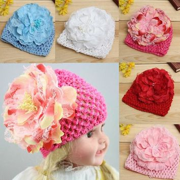 Newborn Sweet Baby Kids Flower Knitted Cap Crochet Beanie Winter Toddler Hat
