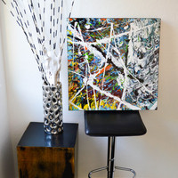 LeNett's Kaleidoscope- an original abstract acrylic painting, kaleidoscope painting, splatter art, modern art, urban art