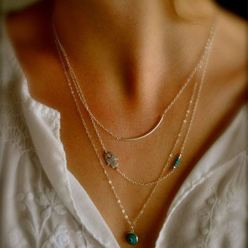 Shiny Stylish Jewelry New Arrival Gift Simple Design Accessory Turquoise Necklace [7298067911]