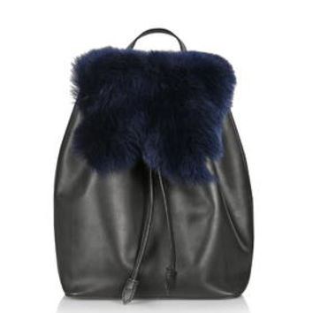 Premium Shearling Backpack - Navy Blue