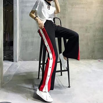 Side Slit Buttons Up Stripes Color Block Pants Women Trousers Fashion Pantalone Femme Pantalones Mujer Pantaloni Donna